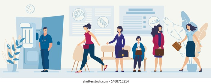 Impudent Woman Going in Doctor Office out of Queue. Indignant Female Visitor Trying to Stop Unmannered Client. Flat Cartoon Hospital Hall Interior. Man Therapist Waiting Patient. Vector Illustration