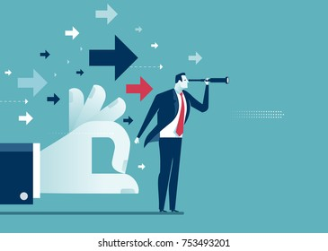 Impulse. Hand helps businessman to reach target. Concept business vector illustration.