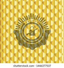 inaccessible icon inside gold badge. Scales pattern. Vector Illustration. Detailed.