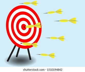 Inaccurate, missing and target hit on bulls eyes dartboard, isolated on light blue background. Vector Illustration. Idea for failure and successful marketing.
