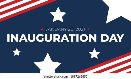 Inauguration Day - January 20, 2021 Celebration Text for 46th Elected President Joe Biden with Patriotic Stars and Stripes Design Background Vector Illustration