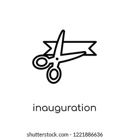 inauguration icon. Trendy modern flat linear vector inauguration icon on white background from thin line general collection, editable outline stroke vector illustration