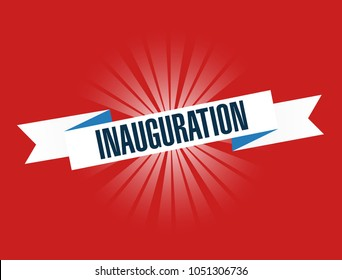 Inauguration red waving ribbon sign illustration design graphic over a red background