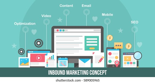 Inbound bound marketing vector concept, strategies of inbound marketing, SEO, Social media, Content, video and email flat illustration