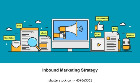 Inbound marketing banner with SEO, social media, podcast, ebook, newsletter marketing icons