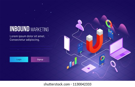 Inbound Marketing based isometric design with magnet as product and other elements are different advertising ways to connect customer or user. Responsive landing page design.