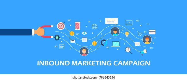 Inbound marketing campaign, Customer attraction strategy, Digital marketing flat vector banner with icons on blue background