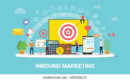 inbound marketing concept strategy team working together with big screen goals and graph chart and icon spread - vector illustration