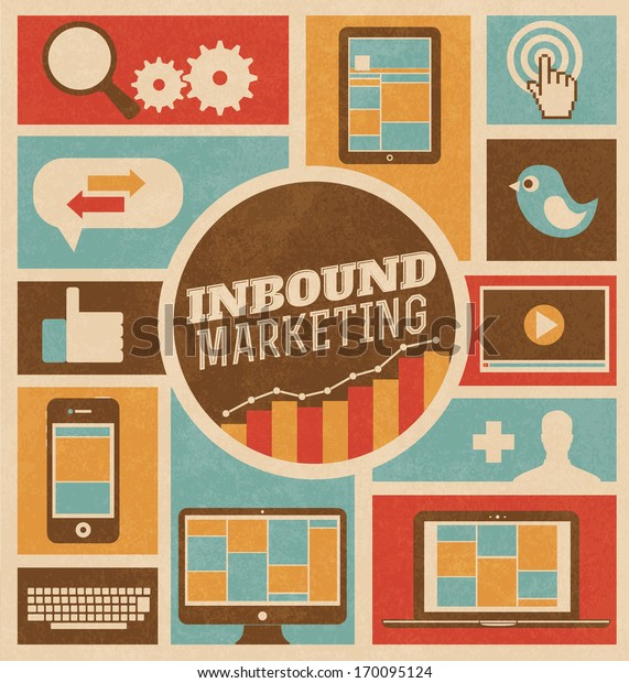 Inbound Marketing - Flat design stylish retro vector illustration