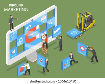 Inbound marketing flat isometric vector concept. People are trying to design a composition on the pc monitor that shows the major points of advertising strategy.