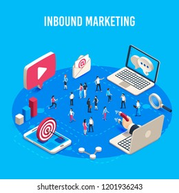 Inbound marketing isometric. Online mass market ads, business target sales ad and offline sale advancement, market communication optimization. Social media crm business vector concept