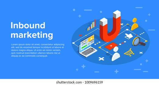 Inbound marketing vector business illustration in isometric design. Online or permission marketing background.