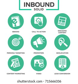 Inbound Marketing Vector Icons with growth, call to action, seo, lead conversion, social media, attract, brand engagement, promoters, campaign