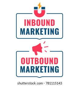 Inbound and outbound marketing. Badges with magnet and megaphone icons. Flat vector illustration on white background.