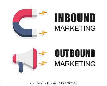 Inbound and outbound marketing vector business illustration in isometric design. Online and offline or interruption and permission marketing background.