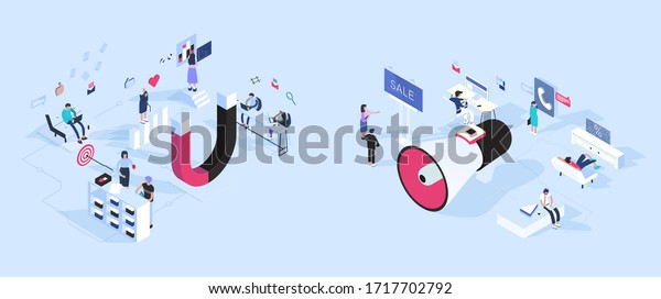inbound vs outbound marketing concept vector stock vector royalty free 1717702792 shutterstock
