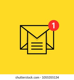 inbox notice logo with linear email. concept of marketing e-mail with attachment or overload mail box. trend modern black and red postal or mms logotype graphic outline design isolated on yellow