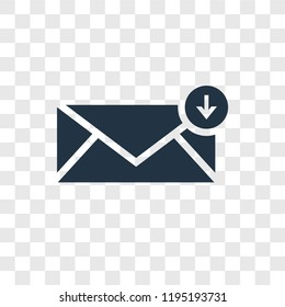 Inbox vector icon isolated on transparent background, Inbox transparency logo concept