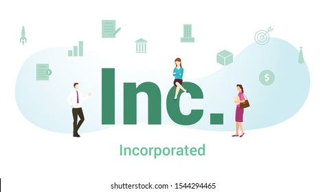 inc incorporated concept with big word or text and team people with modern flat style - vector