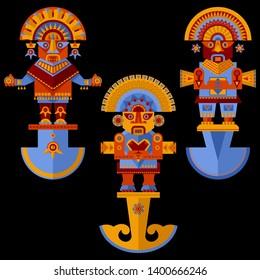 Inca ceremonial knifes. Tumi. Vector illustration