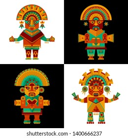 Inca ceremonial sculptures. Vector illustration