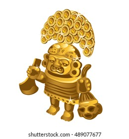 Inca indian ritual figurine from gold, a symbol of sacrifice is isolated on a white background. Vector illustration.