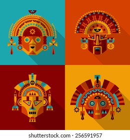 Inca masks. Set 1. Vector illustration