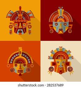 Inca masks. Set 2. Vector illustration