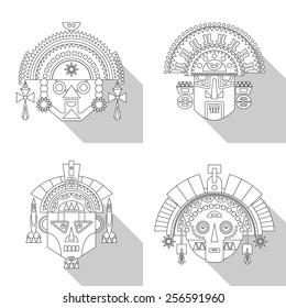Inca masks. Vector illustration