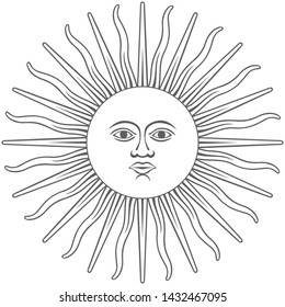 The Inca sun God. Inti sun of may. Argentinian flag. Isolated on white background. Abstract vector illustration