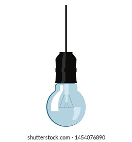Incandescent bulb hanging from the ceiling.