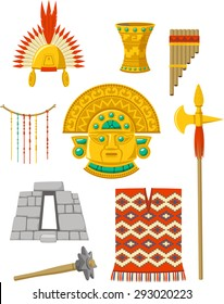 Incas elements set vector cartoon illustrations