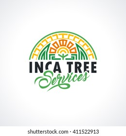 Inca's logo template. Tree services illustration for your company. Vector element for your design, identity, corporation, shop.