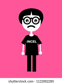 Incel - ugly guy with weird haircut and dioptric glasses is sexually deprivated and frustrated because of involuntary celibacy. Unsuccessful loser, weirdo and geek. Vector illustration