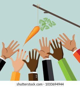 Incentive business concept. Multicultural group of men and women reaching for a dangling carrot on a stick. EPS10 vector illustration. Metaphor.
