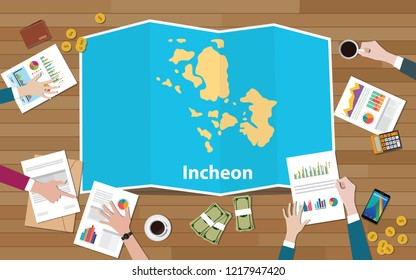incheon south korea city region economy growth with team discuss on fold maps view from top vector illustration