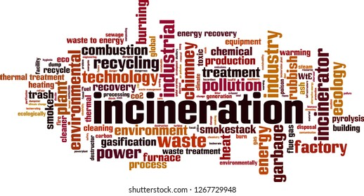 Incineration word cloud concept. Vector illustration