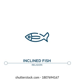 inclined fish outline vector icon. simple element illustration. inclined fish outline icon from editable religion concept. can be used for web and mobile