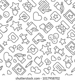 Inclined seamless pattern with testimonials, review, feedback, survey, comment. Black and white thin line icons