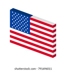 Inclined USA flag vector