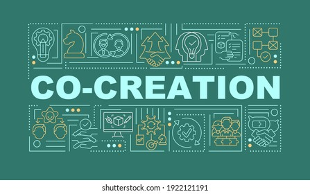 Include outsiders in the ideation word concepts banner. Infographics with linear icons on green background. Collection of fresh ideas. Isolated typography. Vector outline RGB color illustration