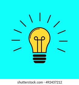 Included light bulb on a blue background. Isolated vector image of the fixture. Yellow lightbulb. Illuminated idea. Lighting fixtures. Light. Glowing lamps. The idea bulb. Brainstorm. Unexpected idea