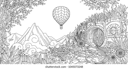 Included in this pack is adult color illustration of hobbit village at New Zealand landscape.