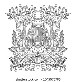 Included in this pack is adult color illustration of hobitton house at the forest.