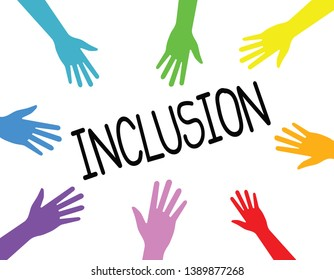 inclusion concept, hands various colors