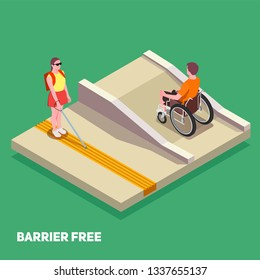 Inclusive education composition with boy in wheelchair and girl with white cane 3d isometric vector illustration