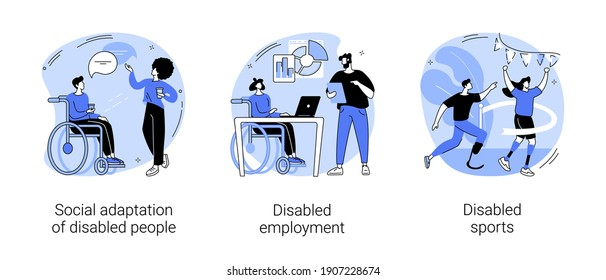Inklusives soziales Umfeld abstraktes Konzept Vektorgrafik Set. Soziale Anpassung behinderter Menschen, Behindertenarbeit, Sport mit körperlichen Behinderungen, abstrakte Rollstuhlmetapher.