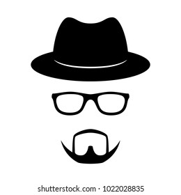 Incognito icon. Man face with glasses, beard and hat. Photo props. Vector illustration