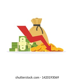 Income decrease graph, financial crisis rate, revenue decline chart, economy downturn, investment risk, fund management, budget deficit, vector illustration flat icon - Vector