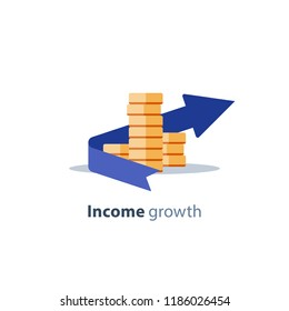 Income growth arrow, dividends concept, financial management, return on investment, budget planning, mutual fund, pension savings account, interest rate, fund raising, coins stack vector flat icon